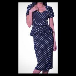 Stop Staring Peplum Polka Dot Midi Dress 👗 🖤🎀